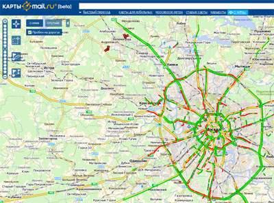Карты@maіl.Ru научились прокладывать маршруты с учетом пробок