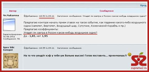 За день до катастрофы «Локомотива» букмекеры делали на этом ставки