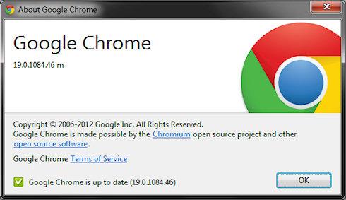 Google Chrome 19 — мастер синхронизации