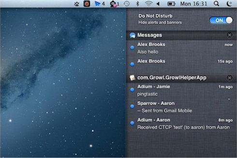 OS X Mountain Lion: режим «Не беспокоить»