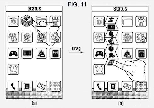 Samsung патентует новый метод работы с папками