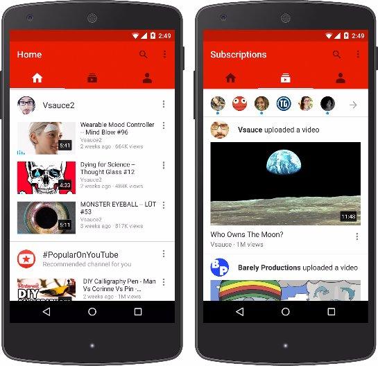 Google обновило мобильное приложение YouTube