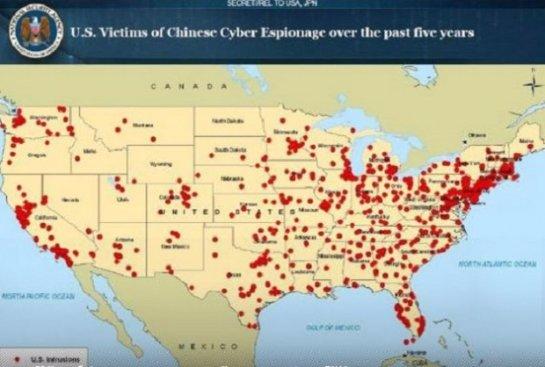 Обнародована карта китайских хакерских атак в США