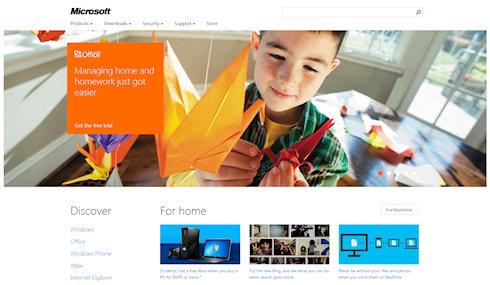 Сайт Microsoft в стиле Metro
