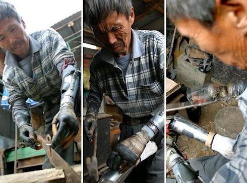 Китаец создал протезы рук из запчастей со свалки