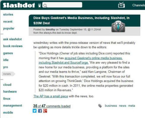 Dice Holding потратила 20 млн на проекты Slashdot.org, SourceForge и FreeCode