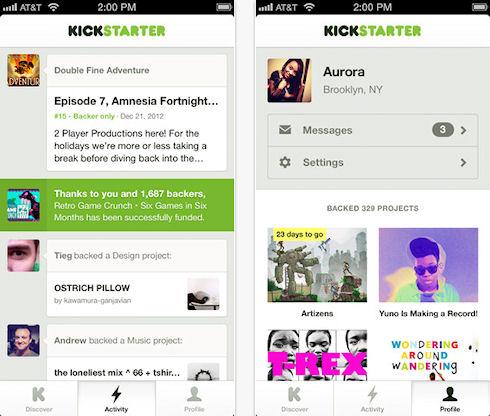 Ресурс Kickstarter выпустил мобильное приложение для iOS
