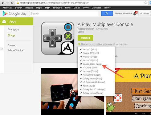Google Play вводит поддержку Glass