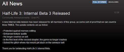 Пользователь Steam сообщил о выходе Half-Life 3