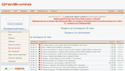 Opensharing.org повторно заблокирован Роскомнадзором