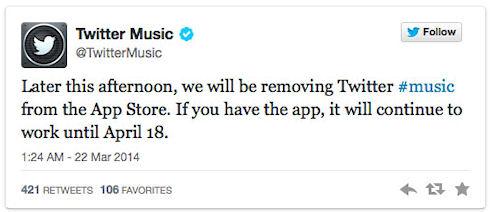 Twitter #music прекращает свою работу в апреле