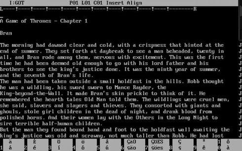 Первоисточник «Игры престолов» был создан в текстовом процессоре WordStar 4.0 для MS-DOS