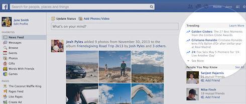 «Тренды» подскажут пользователям, что сейчас популярно на Facebook