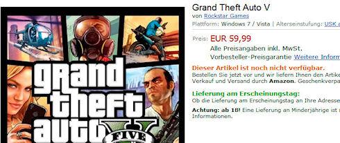 Grand Theft Auto V для PC появилась на Amazon