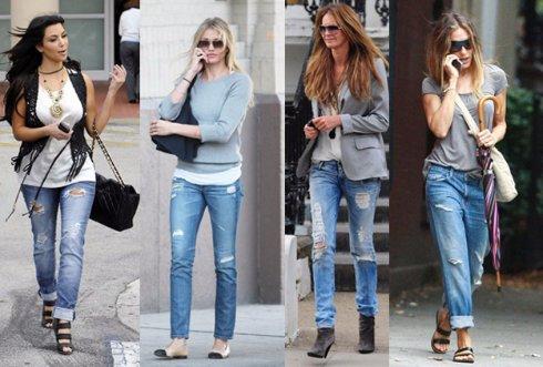 Что лучше всего надевать с рваными джинсами