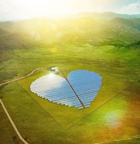 Французы строят солнечную электростанцию в форме сердца