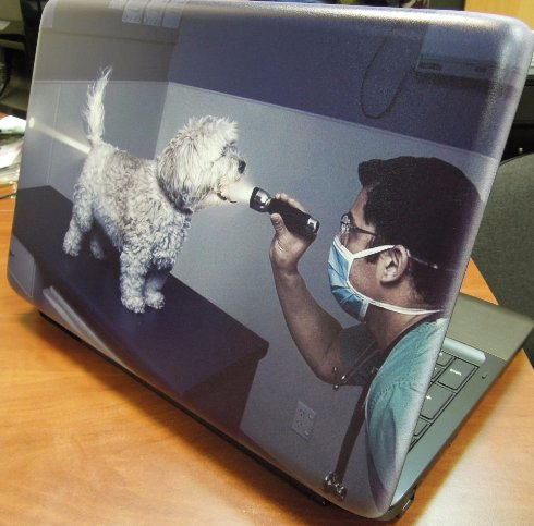 Печать на корпусе ноутбука