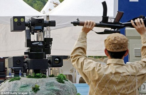 На озащиту Южной Кореи встали роботы пулеметчики