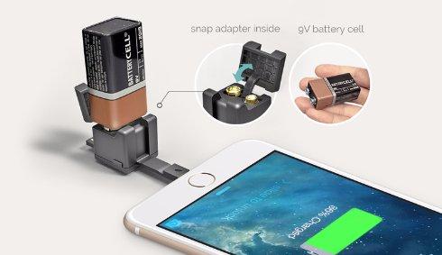 Смартфон можно будет зарядить при помощи батарейки