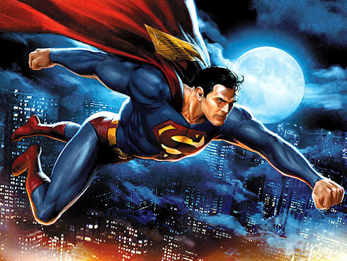В роли супермена…