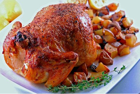 Жареный цыпленок с травами